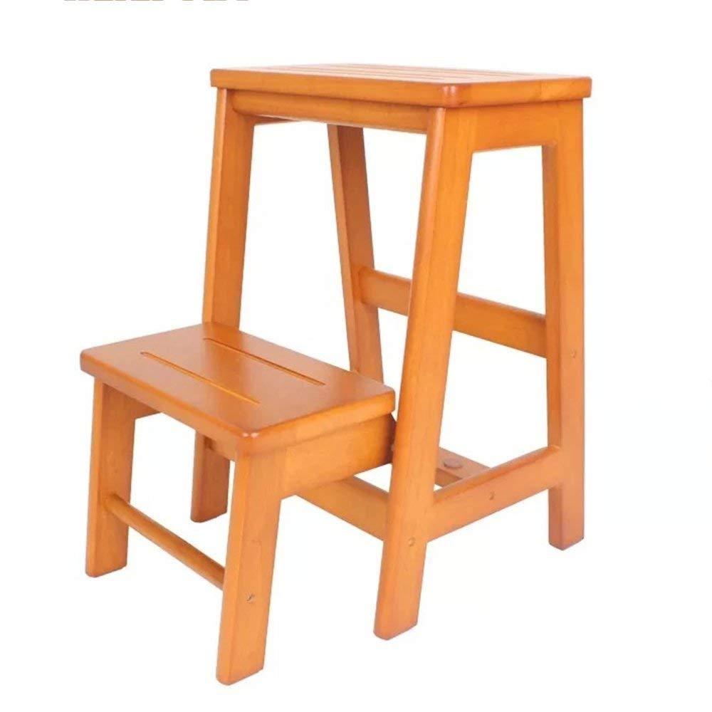 QTQZ Brisk-Fixed 木製 折りたたみ 階段 3層 ダブルチェンジ肩靴 木製はしご (カラー:ブラウン 大:3層) QTQZ B07GJTL4D9 2-layre|honigfarbe