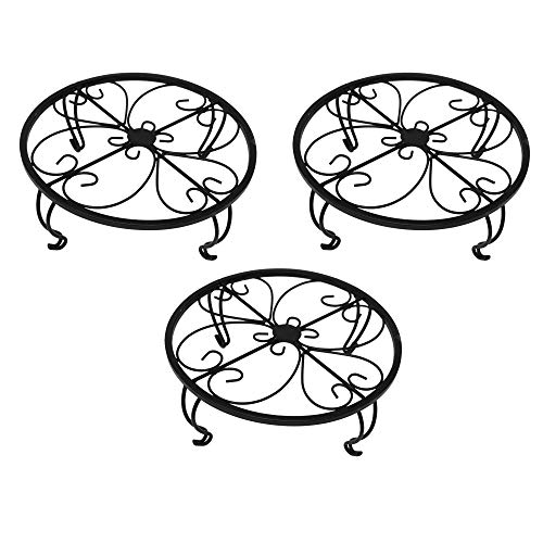 gbHome GH-6749B3 Iron Potted Plant Stand, 10 inch Wide, Black, 3-Pack, Powder Coated Rust Resistant Metal, Decorative Indoor \ Outdoor Flower Pot Holder Saucer, Round Heavy Garden Planter Support Rack