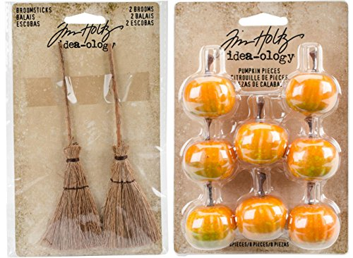 Tim Holtz 2017 Halloween - Broomsticks and Pumpkin Pieces - Miniature Brooms and Pumpkins