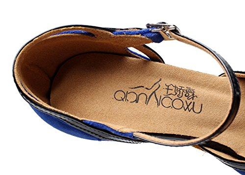 EU40 Sandals Modern Latin JSHOE Salsa Tea Women's Shoes Blue High Tango heeled7 Samba 5cm Jazz Our41 Heels Shoes Dance UK6 5 0gvw0xqH