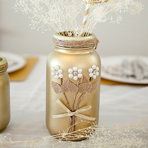 Mason Jar Wedding Centerpieces.Gold Mason Jar Wedding Centerpiece 50th Anniversary Decor Rustic Special Event Decoration