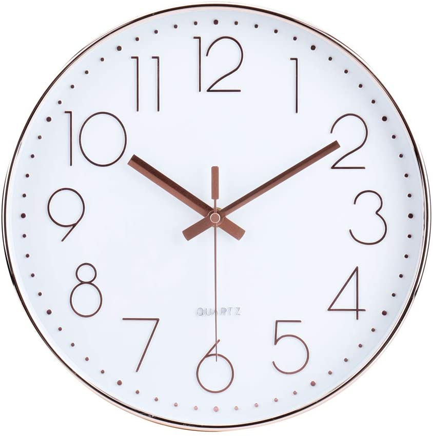 Amazon Com 12 Inch Modern Wall Clock Silent Non Ticking Quartz Sweep Decorative Battery Operated Wall Clocks For Home Living Room Bathroom School Rose Gold Home Kitchen