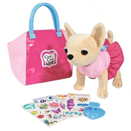 Simba 105892313 - Chi Chi Love Plüschhund 20cm mit Tasche zum selbst gestalten