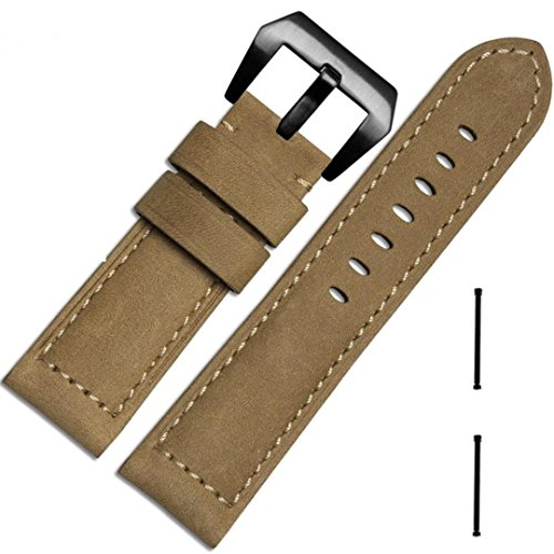 Price comparison product image Wristband ,Vanvler Genuine Leather Watch Replacement Band Strap + Lugs Adapters For Garmin Fenix 3 / HR 2017 (khaki)