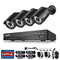 SANNCE 4CH Full AHD 1080P Video Security System DVR and (4) HD 1080P 1920TVL 2.0 MP Weathproof Night vision Fixed Surveillance Camera, Smartphone& PC Easy Remote Access - NO HDD