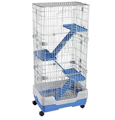 Azul 4 pisos roedores Jaula - Sábana bajera con cuatro ruedas de ...