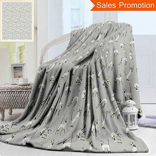 Unique Custom Warm 3D Print Flannel Blanket Grey Decor Cute Siamese Cat Wall Design Playing And Posing Feline Asian Kitty Animal Ligh Cozy Plush Supersoft Blankets for Couch Bed, Twin Size 60