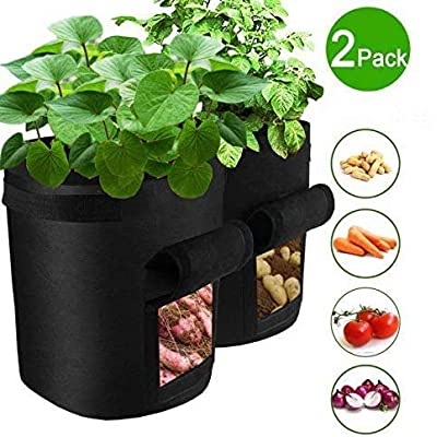 VANUODA 2 Pack Potato Grow Bags, Gardening Plant Growing Bags Bed, Garden Boxes Tomato, Carrot Vegetable Planter Container with Velcro Window Handles Flap Bottom Holes for Optimum Root Growth (4 Gallon) : Garden & Outdoor