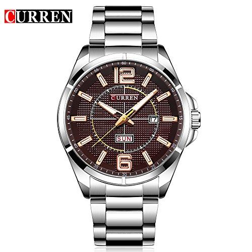 New Men Watch Quartz Water Resistant Sliver Steel Watchband Wristwatches Calendar 8271 by CURREN (Image #6)