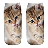 BCDshop Cute Funny Socks Women Men Fashion 3D Cat Cotton Crew Socks Low Cut Ankle (A)