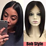 S-noilite Glueless Bob Lace Front Wigs 100% Brazilian Human Hair Short Straight Middle Part Wig Pre Plucked with Baby Hair for Women 10inch Natural 1B Black130% Density