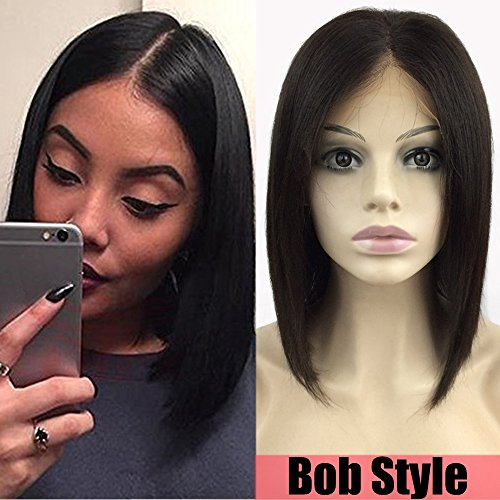 S-noilite Glueless Lace Front Wigs 100% Brazilian Human Hair Short Bob Style Wig for Women Middle Part with Baby Hair Pre Plucked (10inch,Natural 1B Black,130% Density) Natural Bob Style Wig