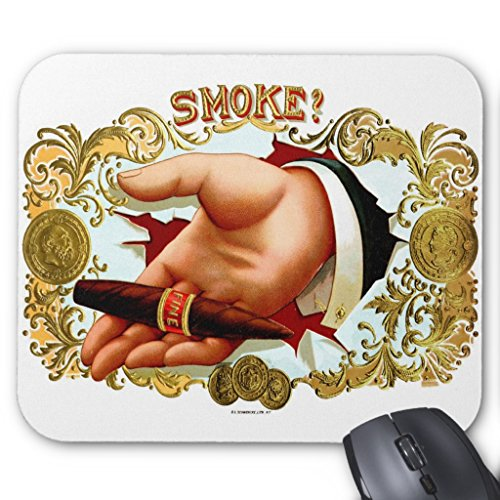 Zazzle Retro Vintage Kitsch Cigar Box Art Smoke  Mouse Pad