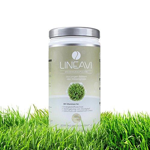 Lineavi Weizengraspulver - Aus jungen Blättern, Weizengras in Rohkostqualität, 400g
