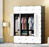 PREMAG DIY Portable Wardrobe Closet, Modular Storage Organizer, Space Saving Armoire, Deeper Cube With Hanging Rod 20 cubes