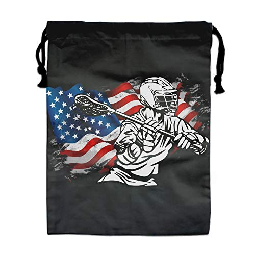 Lacrosse Patriotic American Flag Drawstring Bags Party Favors Bags(1 Pack), Personalised Birthday Fabric Party Goodie Bag Gift for Men and Women]()