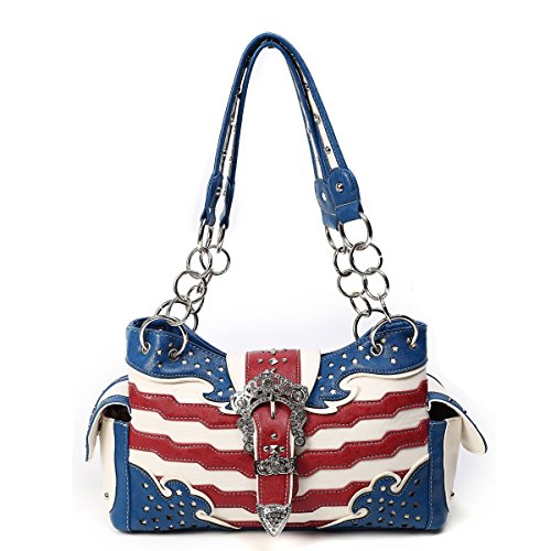 Blue Stars and Stripes USA Bag w/ Rhinestone Buckle, Concealed Carry (Front Pocket Tall Tote Handbag)