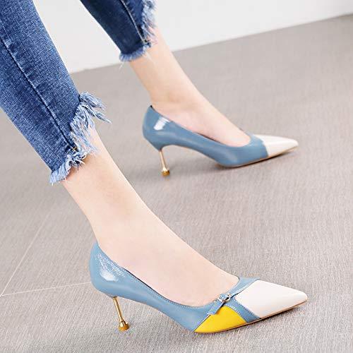 ceinture Chaussures Assorties Bouche Temperament Couleur Boucle polyvalents de Toe Bleu Hrcxue aiguille Talons Femme Fashion Talon qn0ga