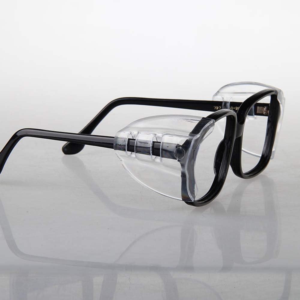 Dylan-EU Eyeglass Wing 2 pares Transparente Protectores laterales universales Gafas Protección de seguridad lateral Gafas flexibles de seguridad Protectores laterales para anteojos pequeños a medianos