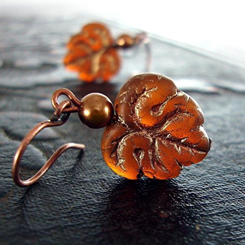 Artisan Czech Glass Pumpkin and Oak Leaf Earrings with Antiqued Copper-Plated Brass