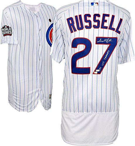 Addison Russell Chicago Cubs 2016 MLB World Series Champions Autographed Majestic White Authentic World Series Jersey with