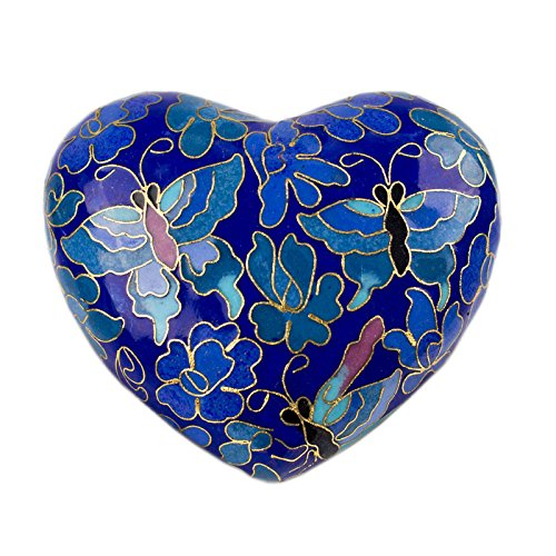 Bronze Keepsake - OneWorld Memorials Butterfly Bronze Keepsake Urns - Extra Small - Holds Up To 3 Cubic Inches of Ashes - Cloisonne Blue Cremation Urn for Ashes
