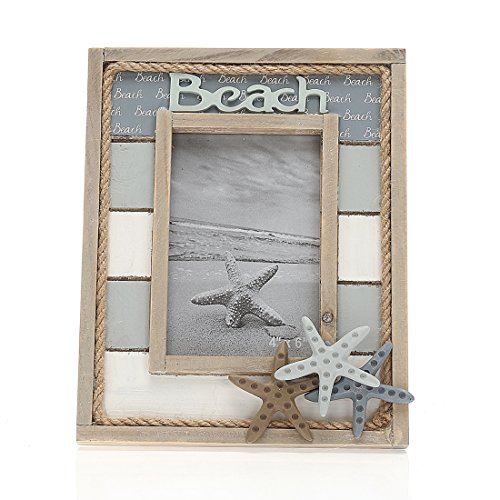 4x6 Inches Nautical Theme Solid Wood Family Picture Photo Frame with Jute Rope Decoration (4x6 with Starfish) (Photo Starfish)