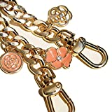 Good-Quality Width 12mm Golden Metal Chain for Replacement Purse Strap/Handle DIY (Flower Camellia Hollowed Out Camellia Charm) (47 inch, Orange Flower)