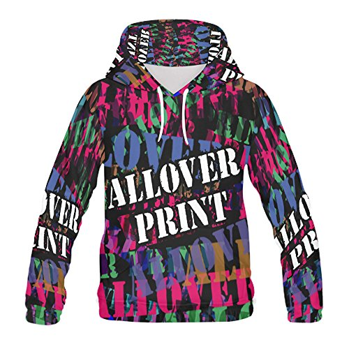 NICTIME All Over Print Sweatshirt Hoodies Design Your Own for Men White ()