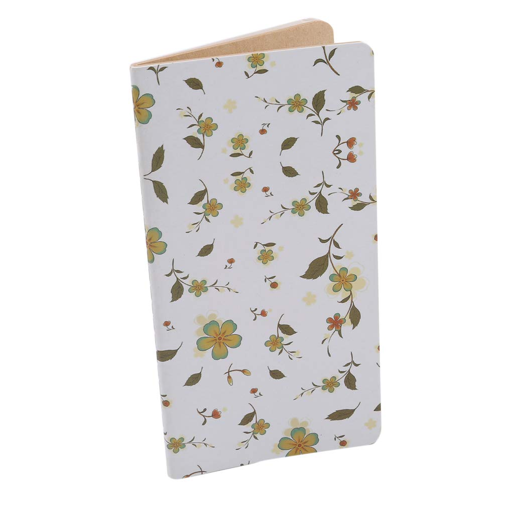 SOURBAN Notepad Retro Flower Paper Record Square Diary Travel Journal Girls Boys Birthday Gifts,white