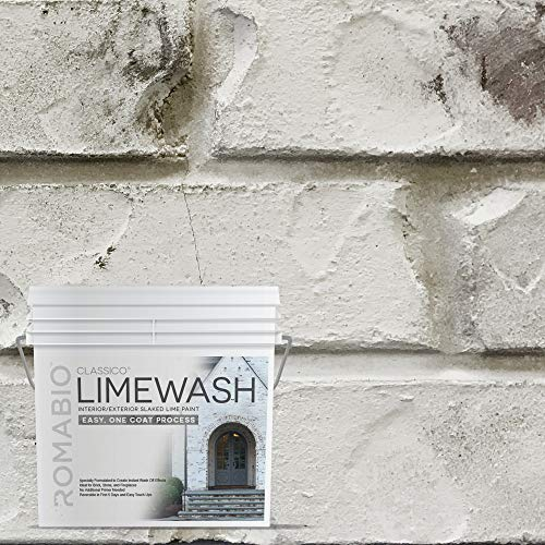 Romabio Classico Limewash Interior/Exterior Paint, Italian slaked-Lime, One Coat, Cristallo White, 2.5L/0.67GAL (Best Paint For Interior Brick Fireplace)