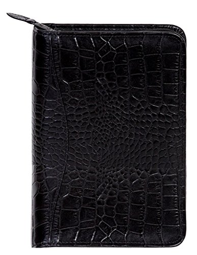 Scully Leather Zip Weekly Planner - Croco BLK - Scully Leather Zip Weekly Planner