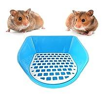 Small Animals Potty Trainer Corner Litter Bedding Box Pet Pan Toilet Chinchillas Rabbits Hamsters Pet Potty Round Plastic Blue