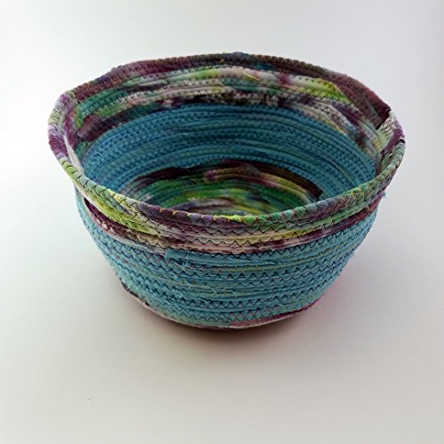 Tie Dye, One of a Kind Fabric Bowl, Coiled Basket, Tie Dyed Cloth