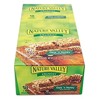 Nature valley oats and honey granola bar, 18 Count of 1.5 oz 2 Bar Pouches, 26.6 oz