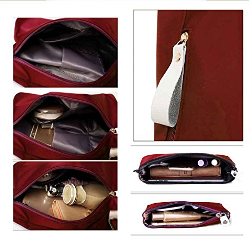 imperméable Pieces Set Vin dos Voyage Messenger rouge Arichtop Sac épaule Sac main Trois à Sac à Casual Nylon xUSAA1wCq
