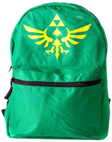 ゼルダ任天堂トライフォースロゴリバーシブルバックパック(グリーン/ブラック)Zelda Nintendo Triforce Logo Reversible Backpack (Green/ Black) B00DJTS3NU