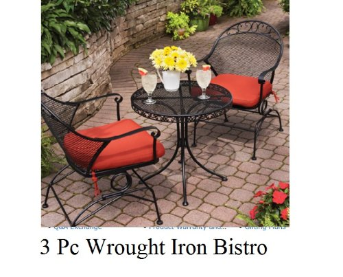 Outdoor Wrought Iron Bistro Set W / FREE Orange Cushions