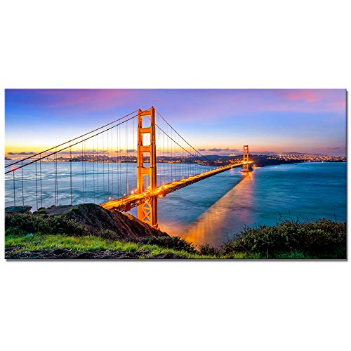 Gates Sunset (Biuteawal - Modern Canvas Painting Wall Art Beautiful San Francisco Golden Gate Bridge at Sunset Picture Painting on Canvas Print for Home Wall Decoration Framed Gallery Wrapped Ready to Hang)
