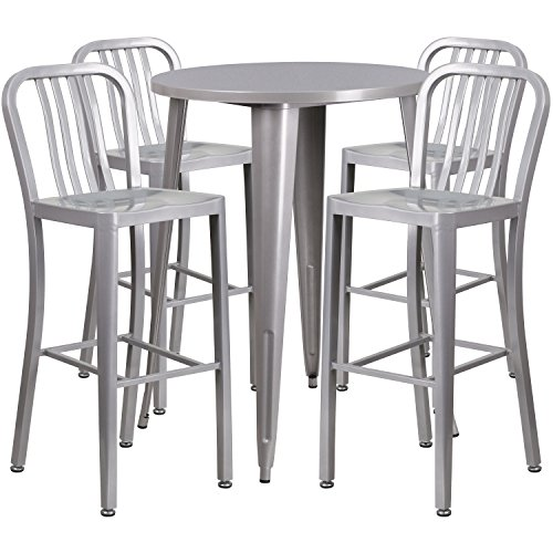 30 Bar Vertical Stool - Flash Furniture 30'' Round Silver Metal Indoor-Outdoor Bar Table Set with 4 Vertical Slat Back Stools