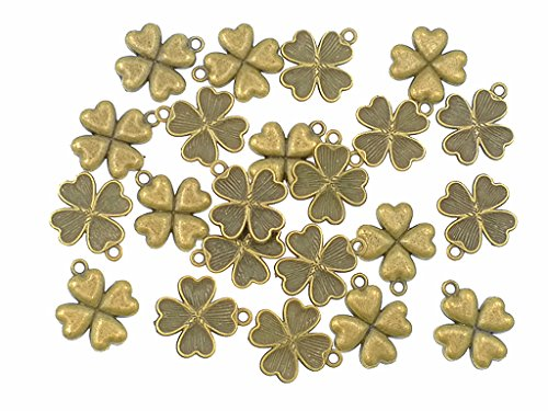 - 30pcs Four Leaf Clover Heart-Shaped Lucky Charms Pendents for DIY Bracelet Necklace Jewelry Making Accessories(Antique Bronze)