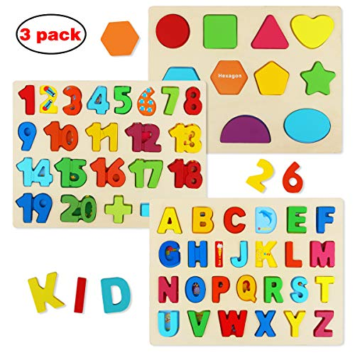 Wooden Puzzles for Toddlers, Aitey Wooden Alphabet Number Puzzles Toddler Learning Puzzle Toys for Kids Ages 2 3 4 (Set of 3)