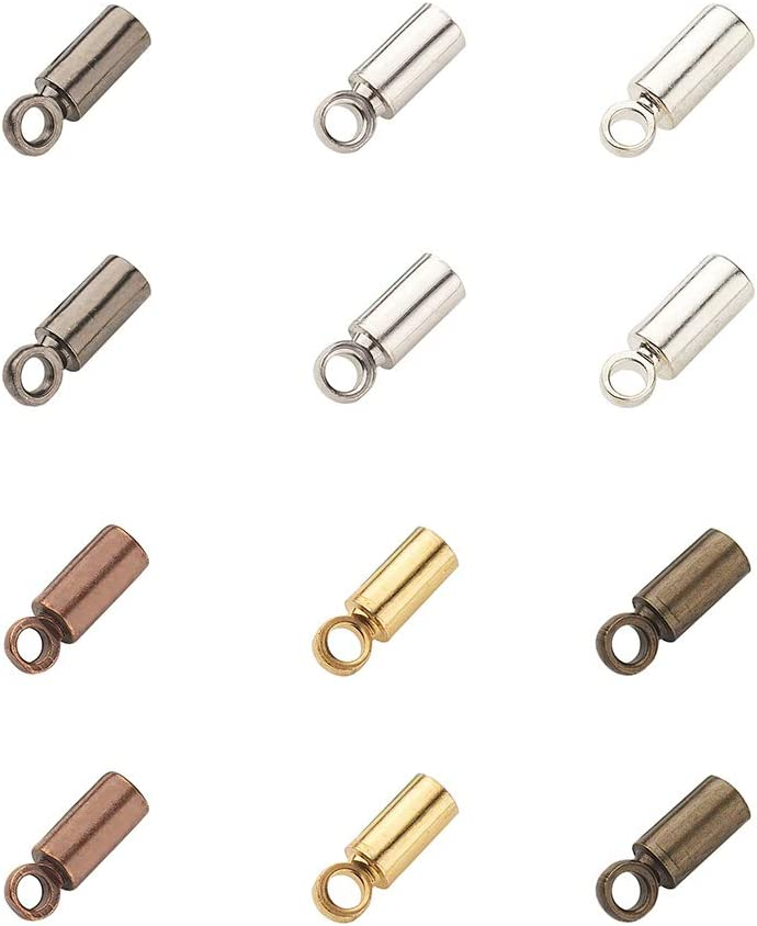 plain Set of 2 end caps 10 mm for cord 10 x 11 mm inside 10 in brass