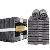 Talvania Cotton Washcloths - 13 X 13 100% Pure Ring Spun Cotton Towels 600 GSM Soft and Absorbent, Long Lasting, Pack of 12 Face Wash Towel (Grey) Larger Image