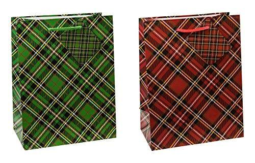 TSI 87012 Gift Bags Tartan, Pack of 12, Size: Medium (9 x 7 x 4 inch)