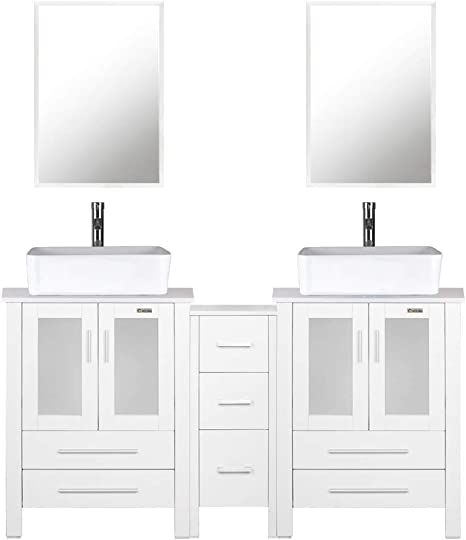 Amazon Com Eclife 60 Bathroom Vanity Sink Combo White W Side Cabinet Vanity White Ceramic Vessel Sink And Chrome Bathroom Solid Brass Faucet And Pop Up Drain W Mirror T03 2b02w Kitchen Dining