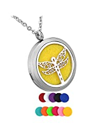 HooAMI Aromatherapy Essential Oil Diffuser Necklace - Stainless Steel Locket Pendant