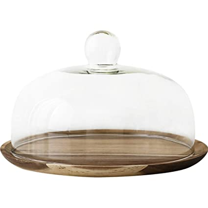 Amazoncom 10 Inch Acacia Wood Cake Stand With Glass Dome