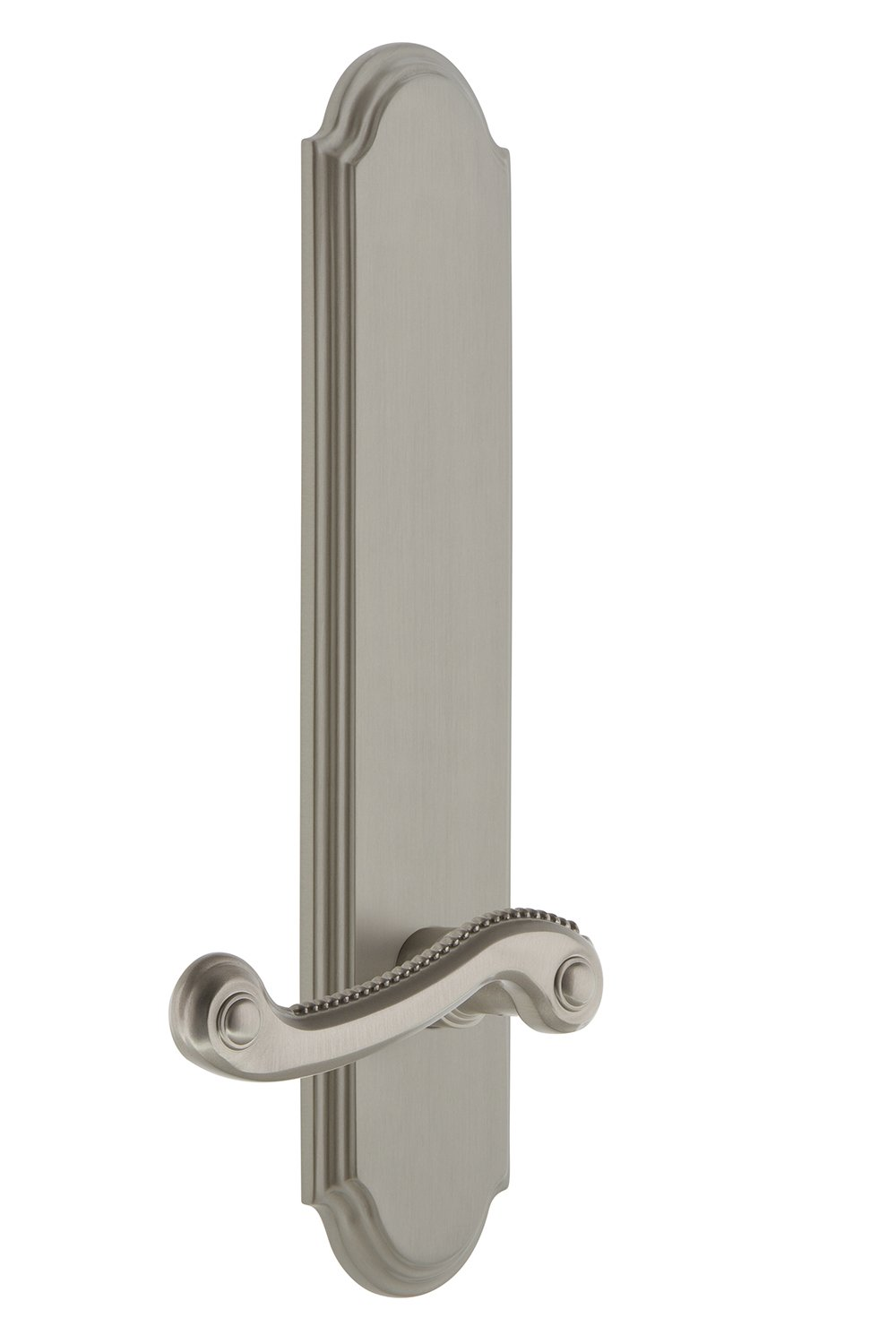 Single Grandeur 836279 Hardware Arc Tall Plate Dummy with Newport Lever in Timeless Bronze