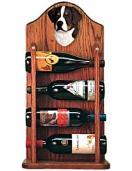 Bernese Mountain Dog Wine Rack 4 Bottle Design In Dark Oak By Michael Park